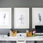 Bird art in home office/play area