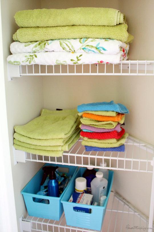 Organized kids linen closet
