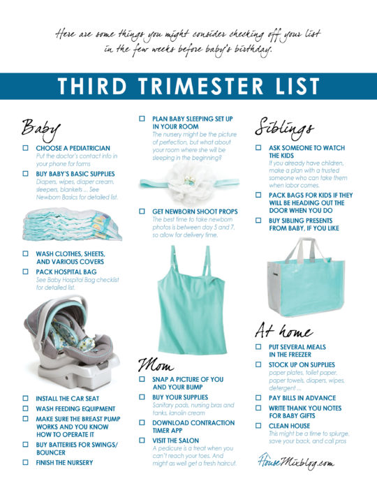 Third trimester checklist printable