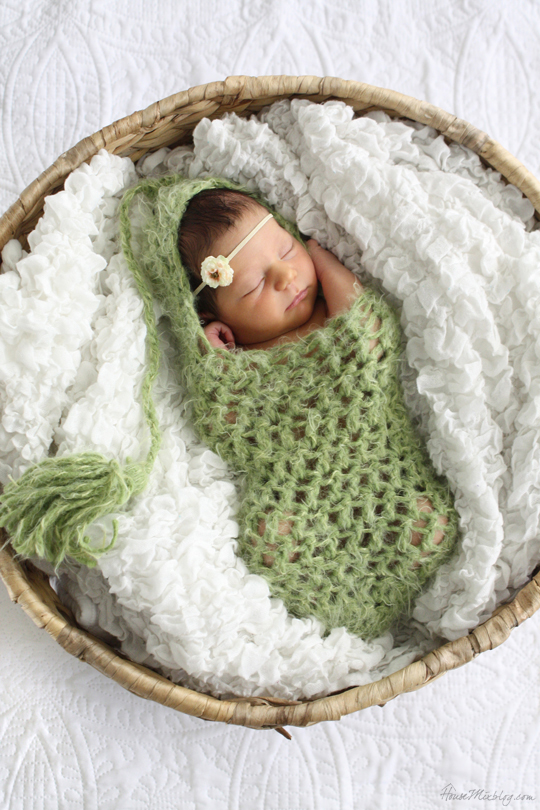 Newborn photography - pea in a pod