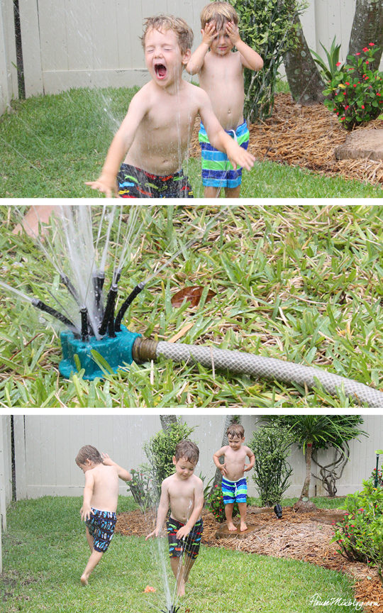 A month of outdoor activities - sprinklers and kids just go together