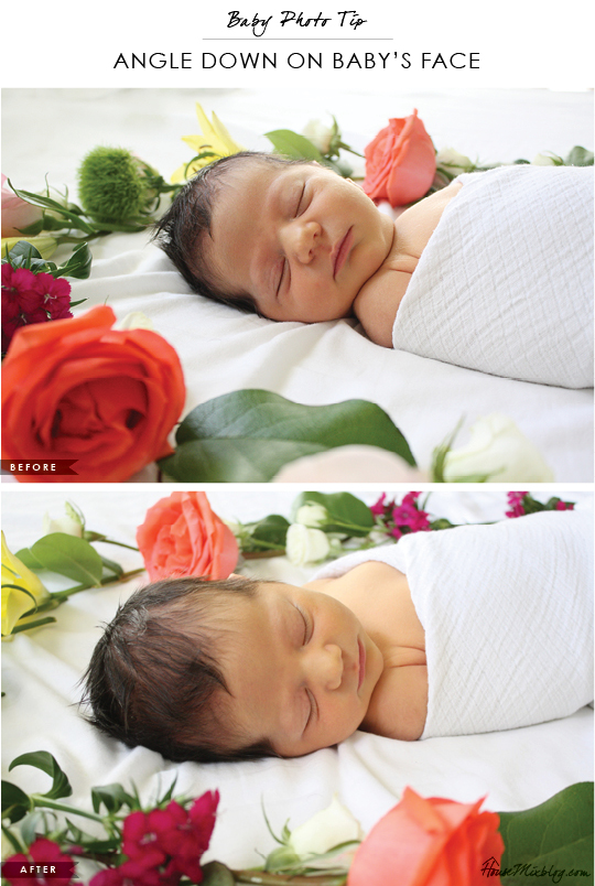 Baby photo tip - Angle down on newborn's face