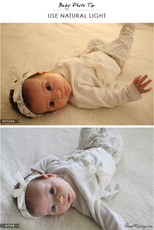 Baby photo tip - Use natural light. Before is taken with lights on and after is taken with the blinds open