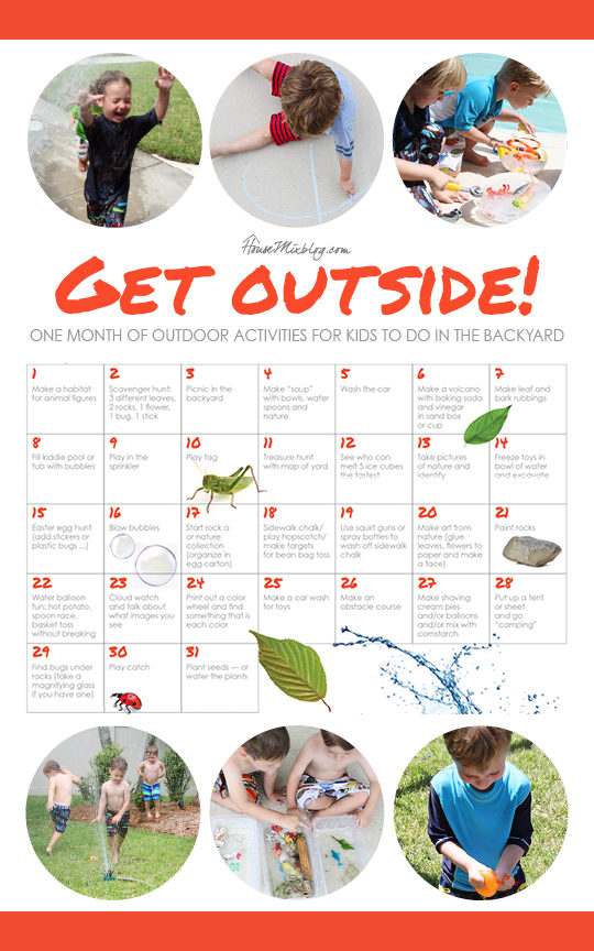 A printable one month calendar of outdoor activities for kids that require little to no planning or shopping — and that you can do in your own backyard!