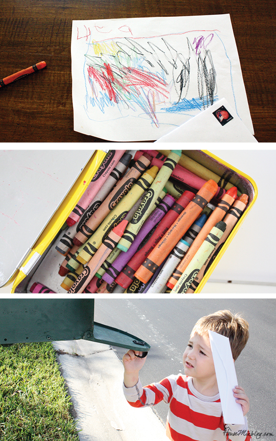 One month of easy indoor activities for kid - send a drawing in the mail
