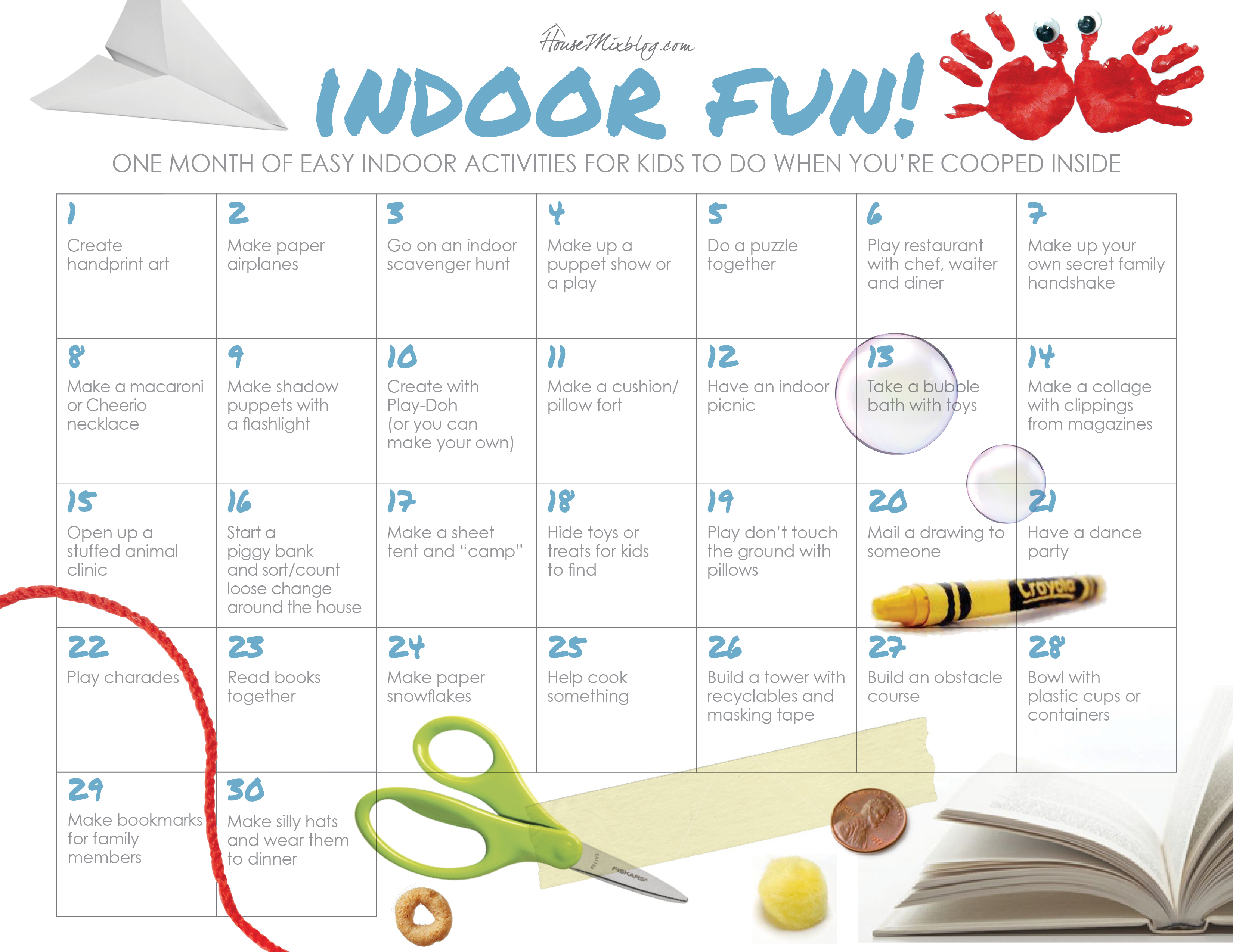 indoor activities for kids. One Month Of Easy Indoor Activities For Kids | HouseMixblog.com