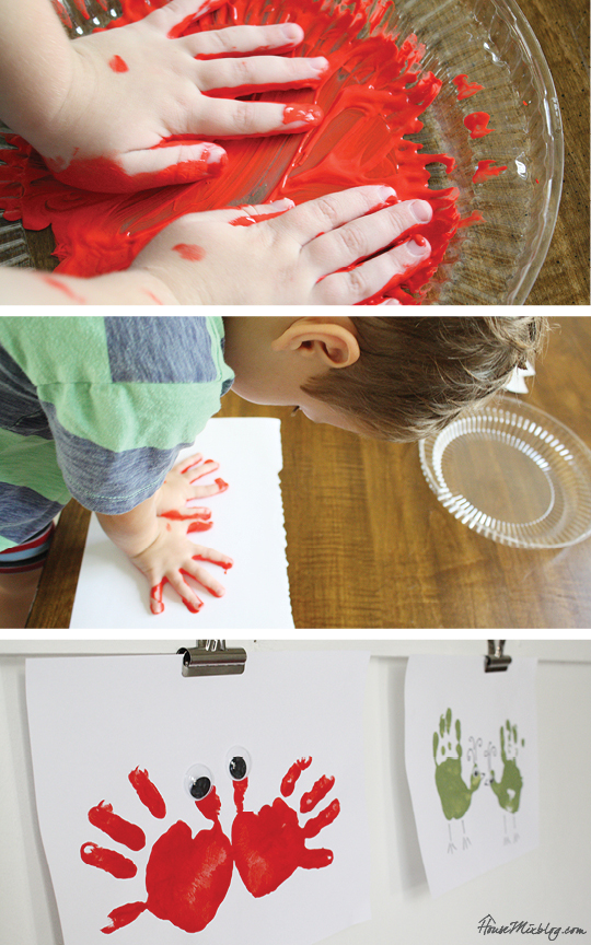 One month of easy indoor activities for kids - handprint art