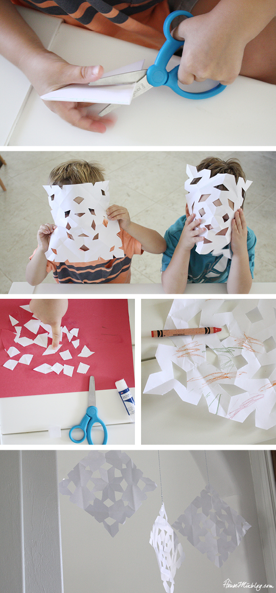 One month of easy indoor activities for kids - make snowflakes