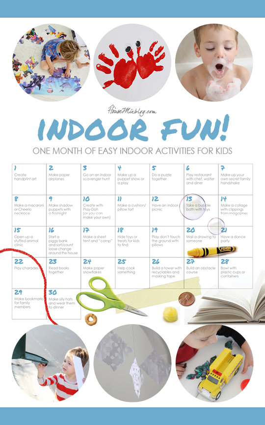 One month of easy inside activities for kids