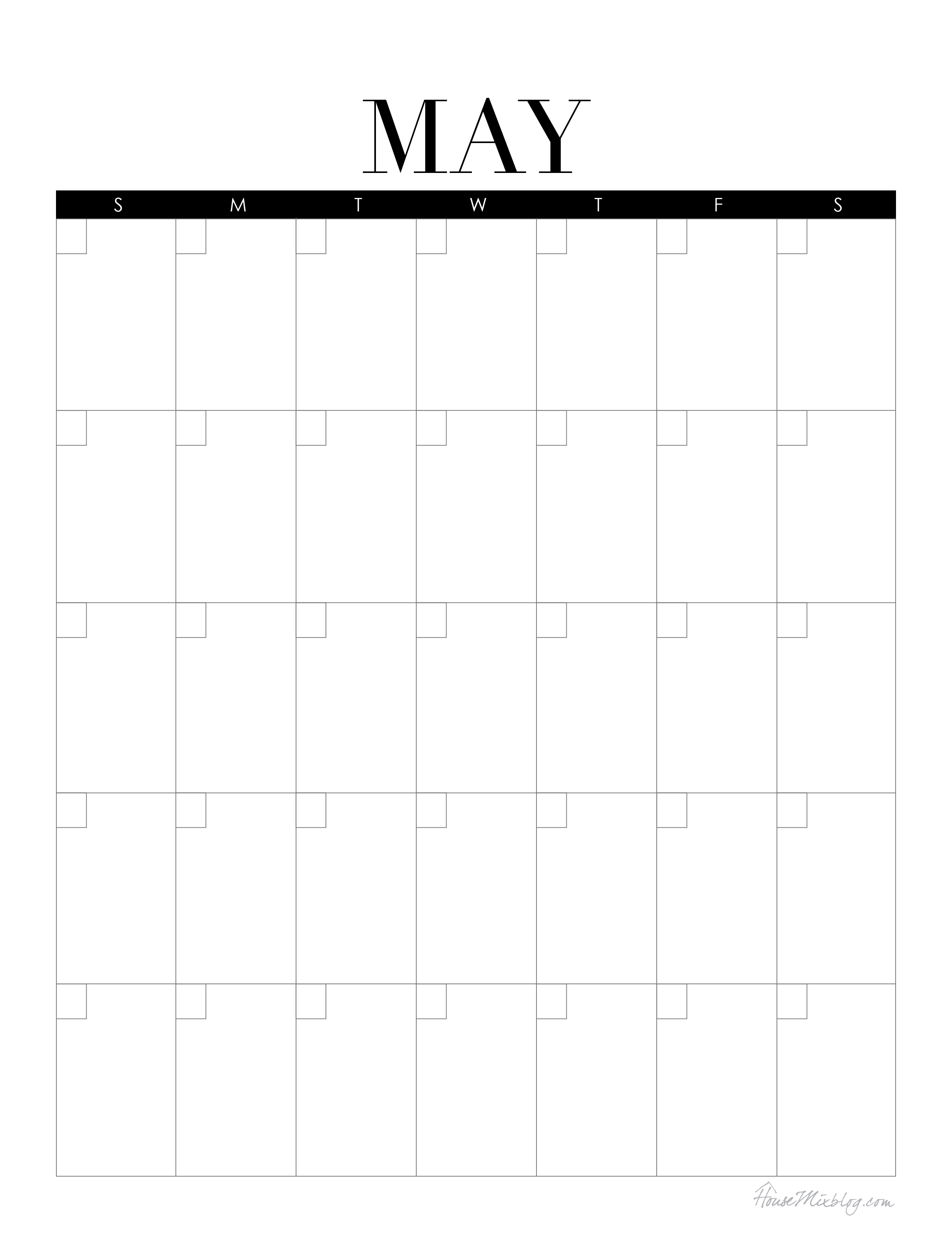 Calendar Blank May : Mini command center with printables house mix