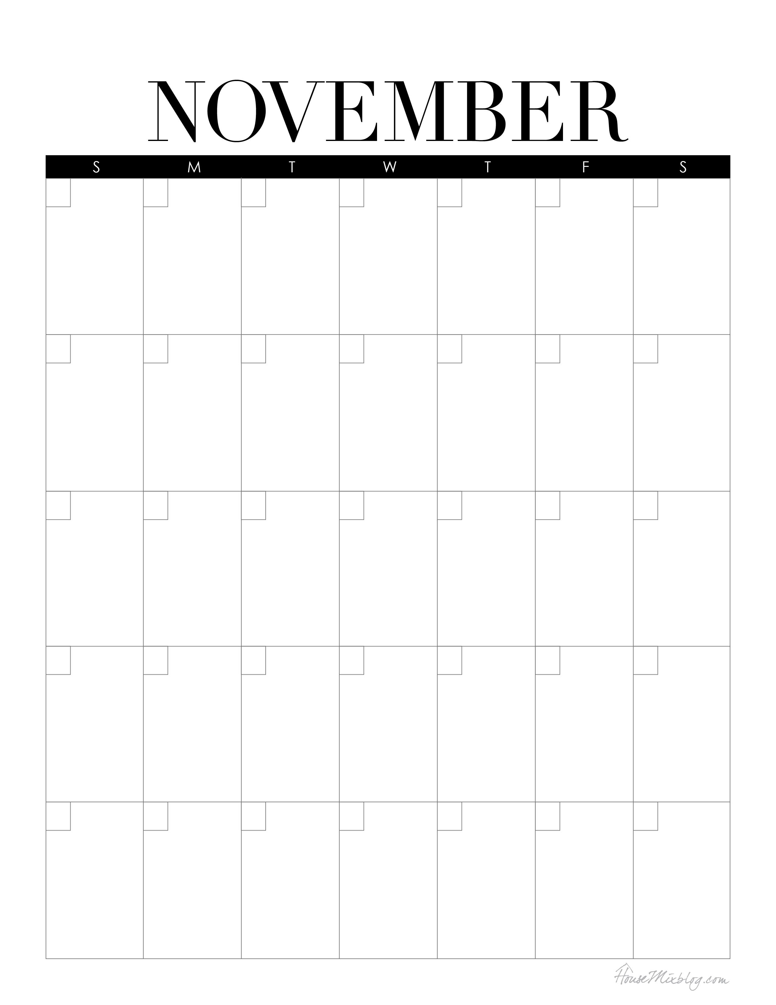 Blank Calendar November : House mix offbeat ideas on family decor and organizing