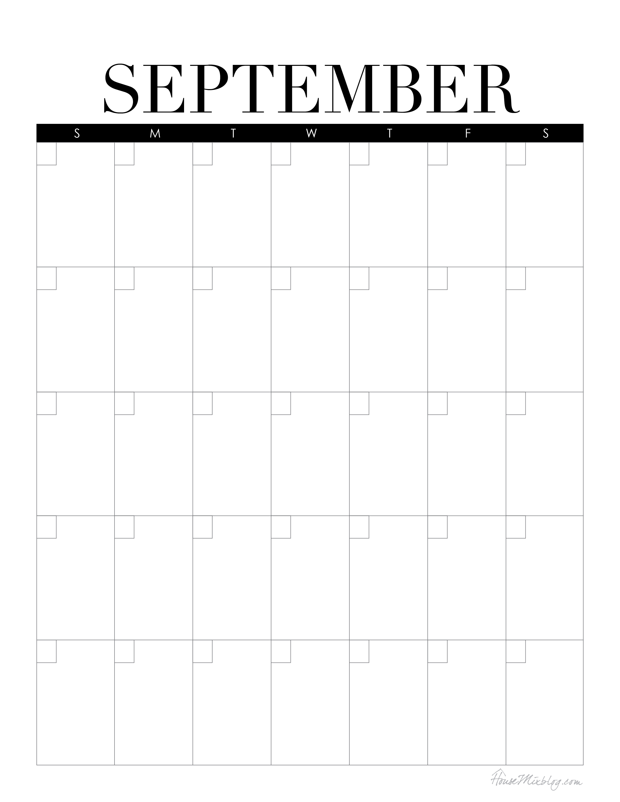 Blank Calendar September : Mini command center with printables house mix