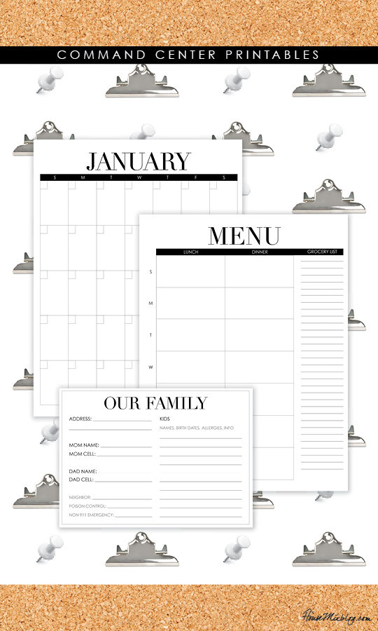 Command center printables - menus, calendars, babysitter info card