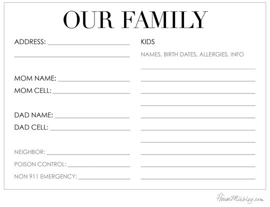 Family info for babysitter printable