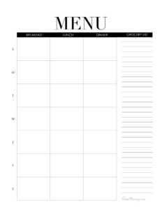 Weekly menu printable - breakfast lunch and dinner