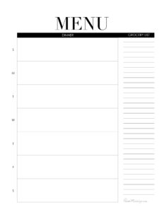 Weekly menu printable - dinner