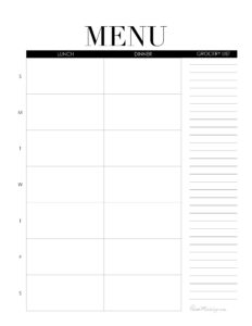 Weekly menu printable - lunch and dinner