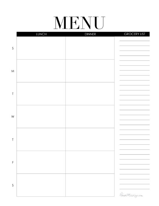 Weekly menu printable - lunch and dinner