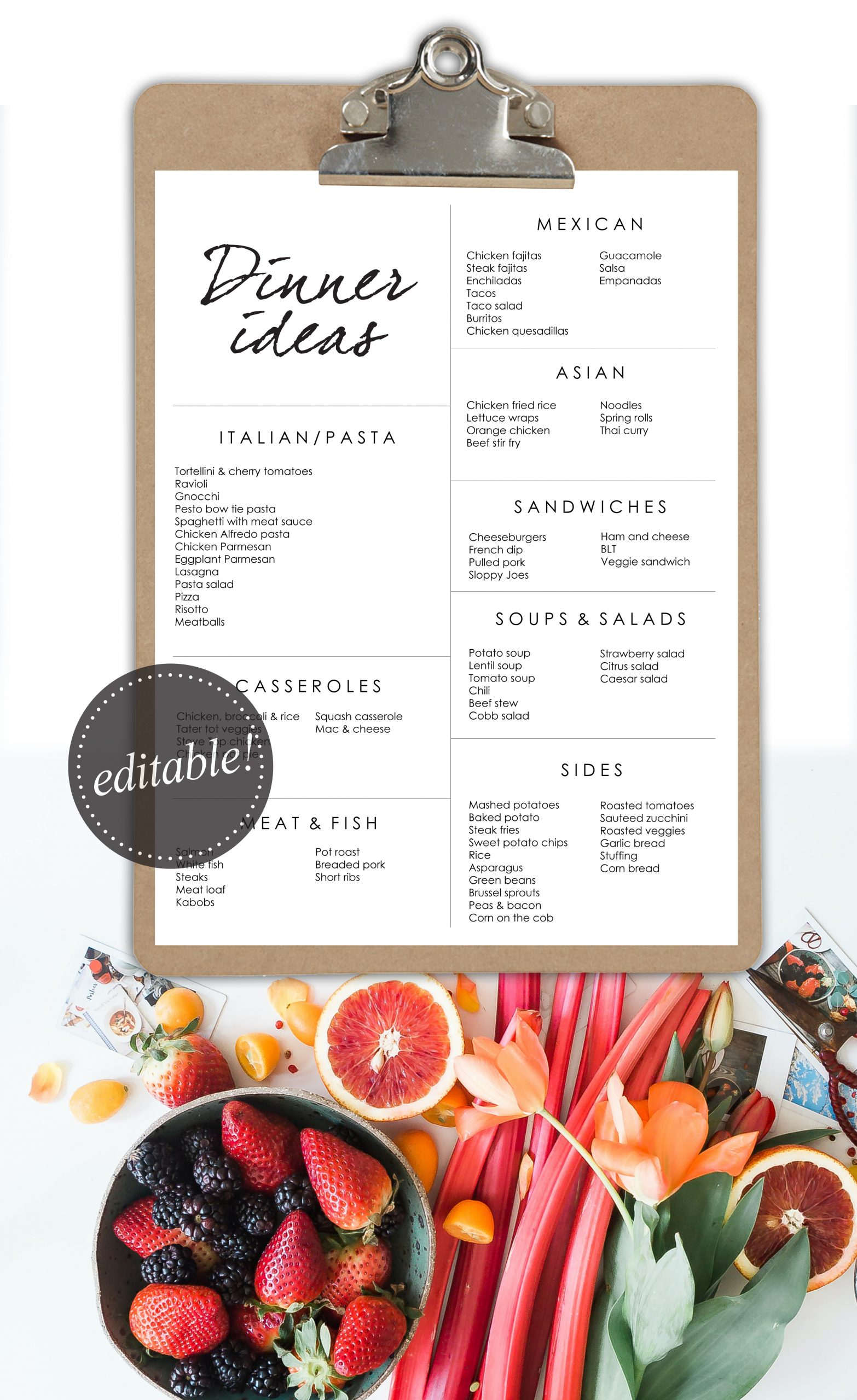 Dinner Ideas editable printable pins - copyright housemixblog.com