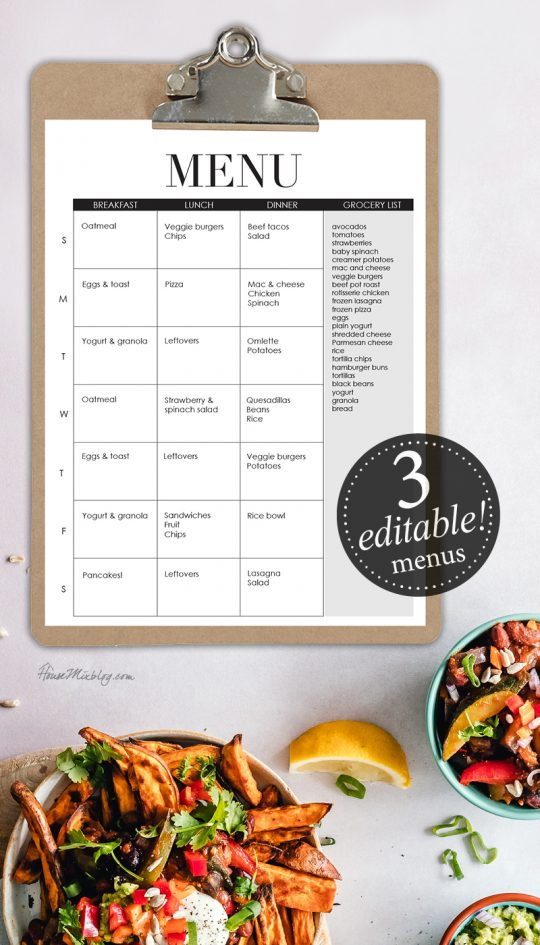 Editable menus - meal planner - breakfast lunch dinner - meal planning ideas