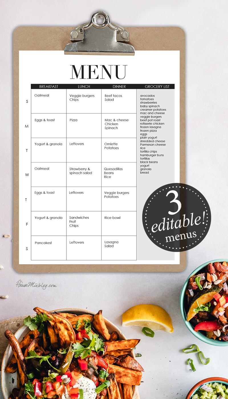 Editable menus - meal planner - breakfast lunch dinner - meal planning ideas
