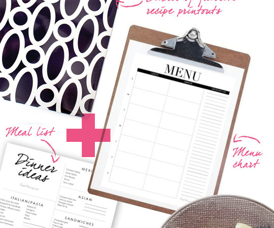 Menu planning for the non-cook - menu chart and dinner idea list printables