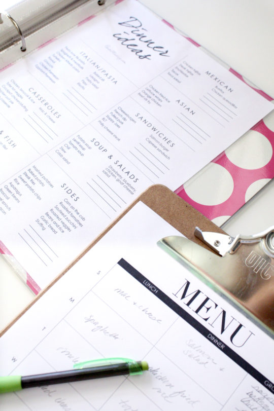Printables for menu planning - dinner ideas and menu chart