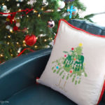 Christmas tree handprint pillow from napkins