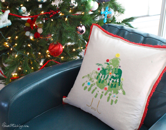 Kids Christmas tree handprint pillow