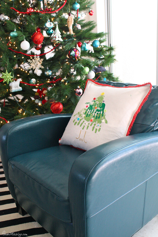Kids handprint Christmas tree pillow activity
