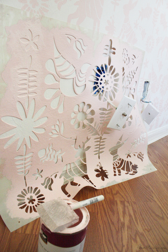 Stenciling around outlets and cable cords