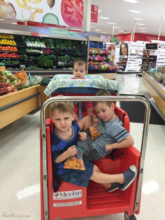 Target shopping with all three kids