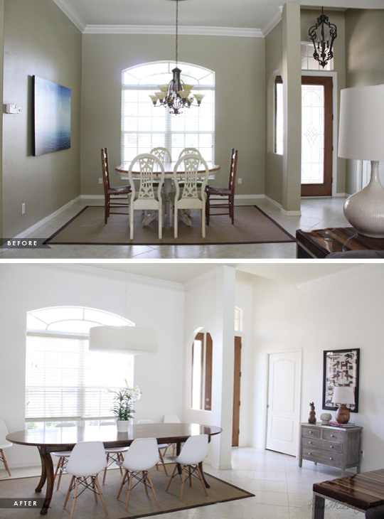 Before and after - Dining room update for only $1,453