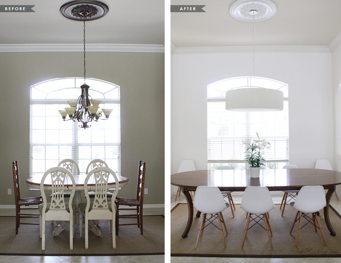 Before and after - making the dining room white and modern
