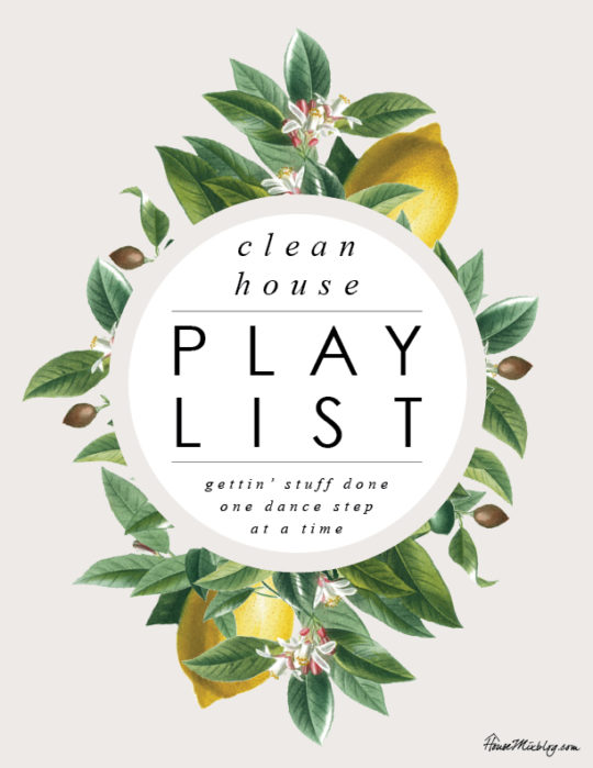 Clean house playlist and printable weekly chart