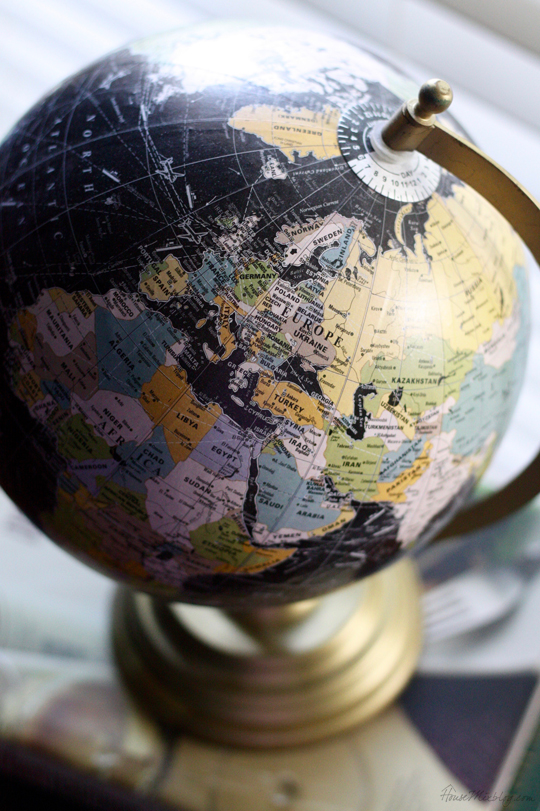 globe with gold stand from Target