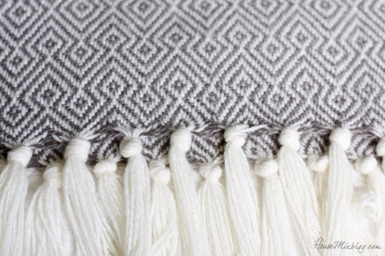 gray and white throw
