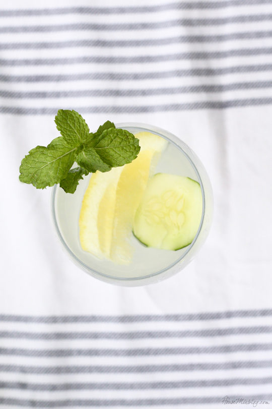 Lemonade cucumber cocktail with mint for summer BBQ