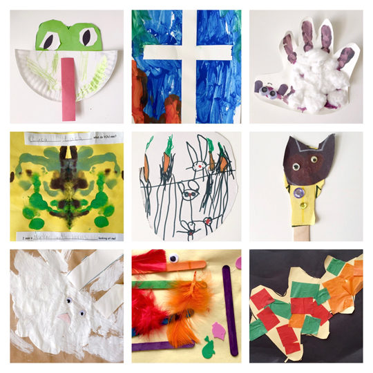 Phone collage of kids art