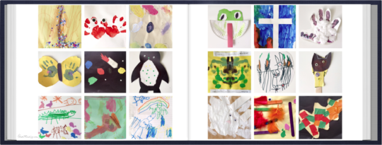 Save kids art with phone camera, collage and photobook