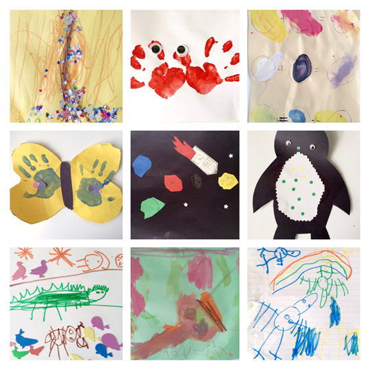 Saving kids art with phone collage