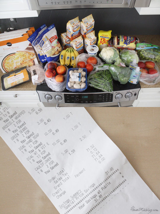 Sample grocery trip for stockpiling