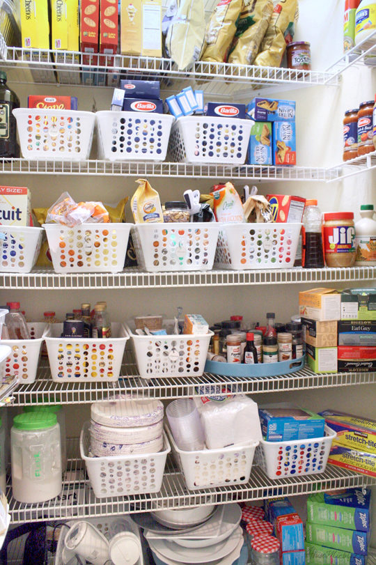 what-to-stockpile-in-your-pantry-dollar-store-baskets-used-to-organize-pantry