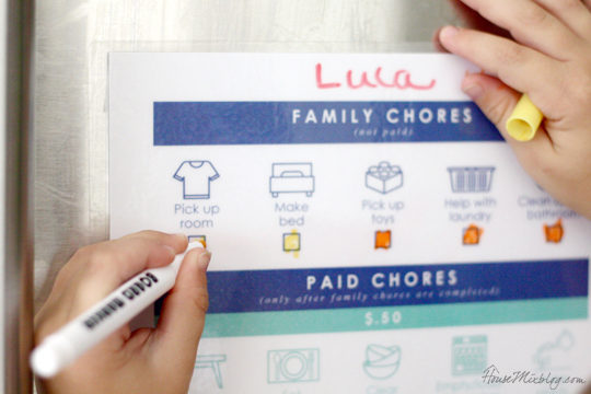 kids printable chore chart to earn money