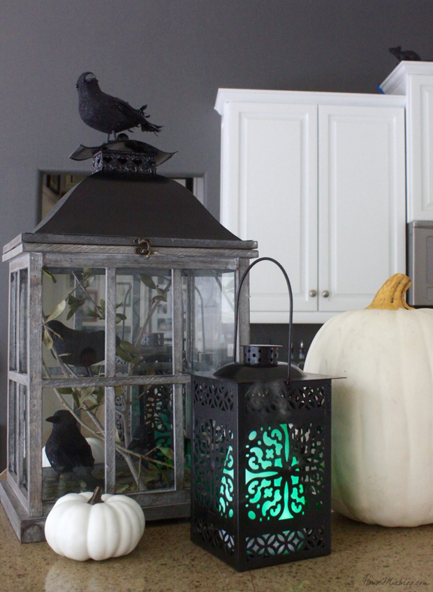An oil diffuser makes for a spooky glowing and smoking lantern during Halloween. You can use cinnamon or fall harvest oils for an autumn smell.