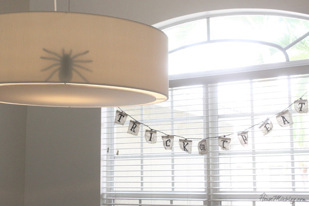 Spider behind a lampshade makes for a spooky surprise