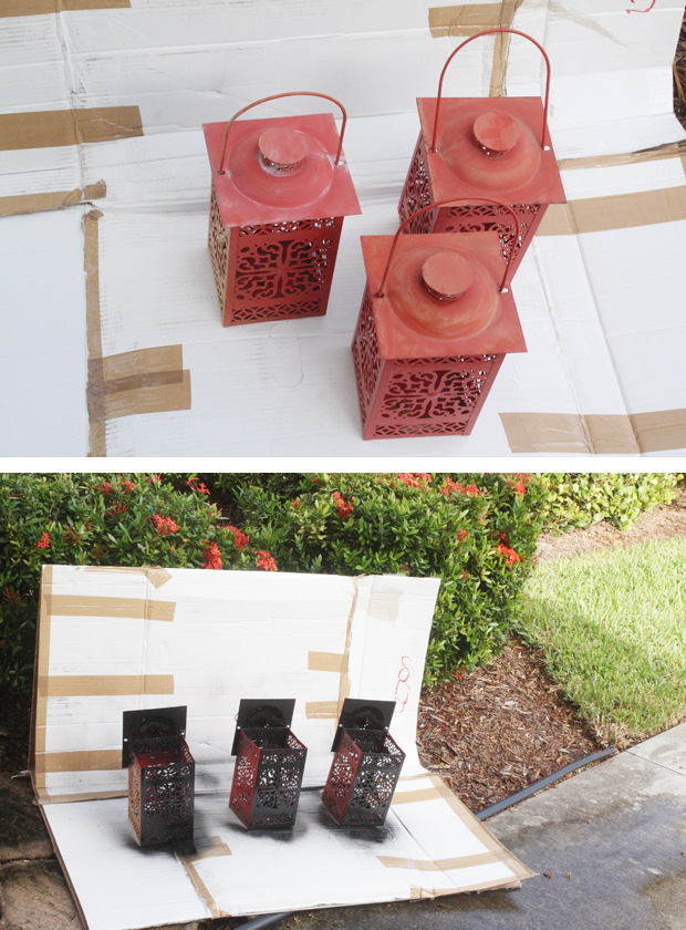 Spray painting old lanterns black for Halloween