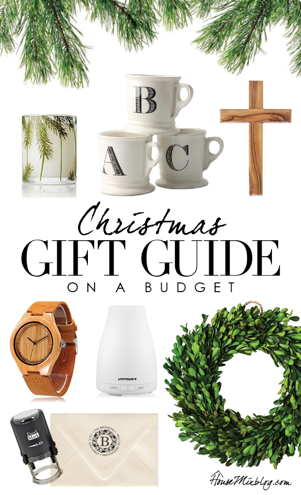 Christmas gift guide on a budget - pine candle, monogram mugs, wood cross, wood watch, address stamp, wreath
