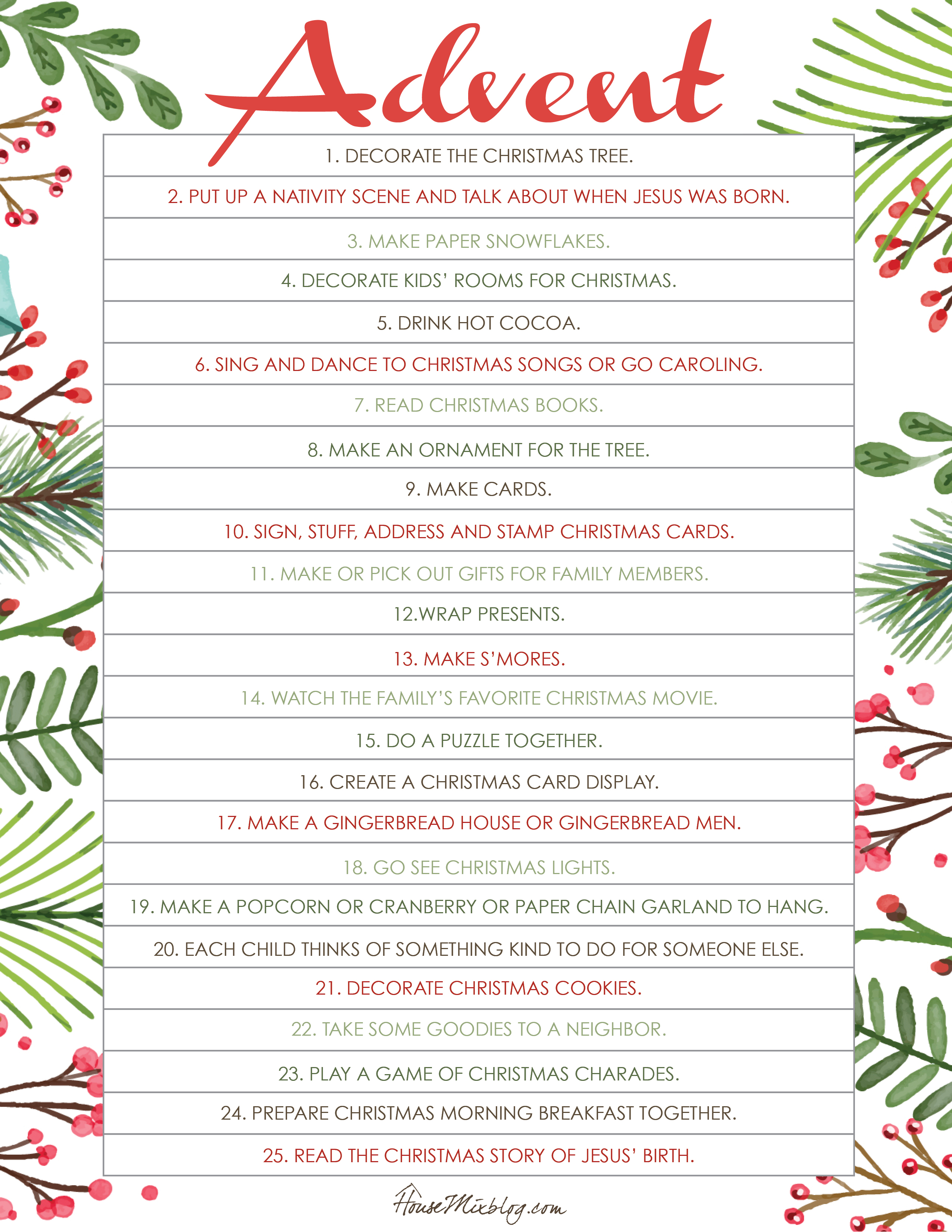 Printable Christmas activities for advent  House Mix