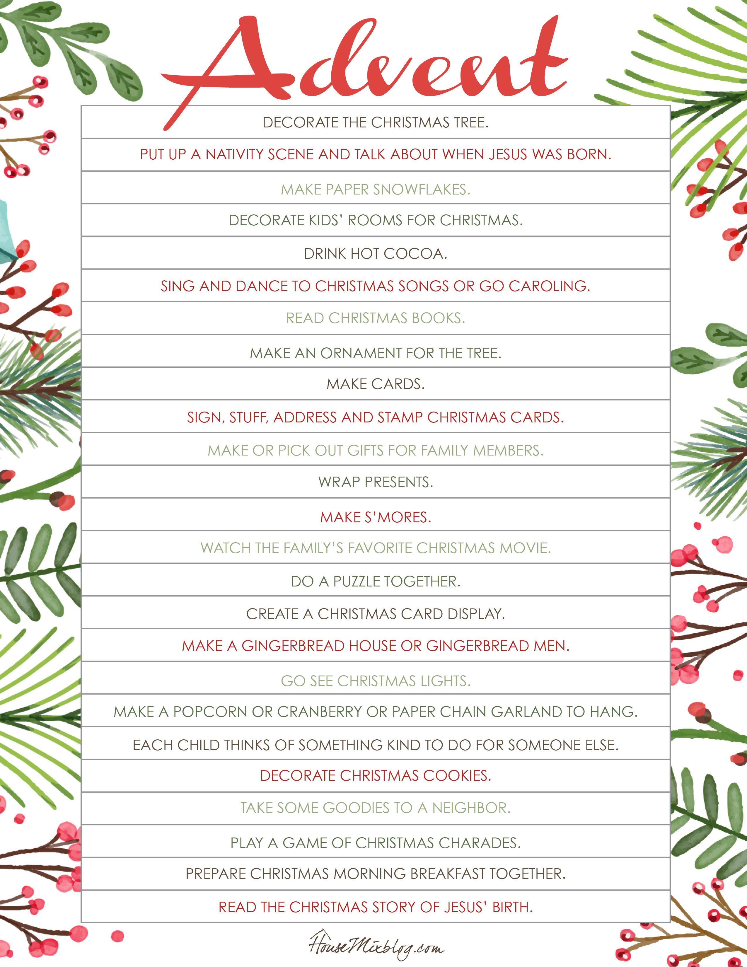 Printable Christmas activities for advent
